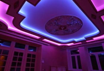 Натяжной потолок освещение: игра света