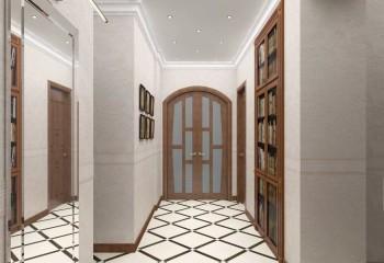 Дизайнерский взгляд на современную прихожую: потолок со встроенной точечной подсветкой