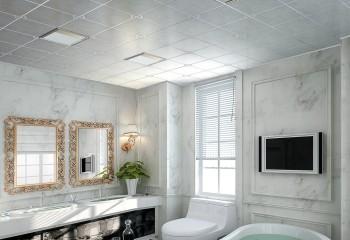 Потолок из алюминиевых кассет в дизайне ванной комнаты