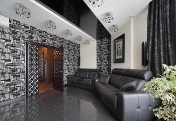 Черный глянцевый потолок в интерьере – залог уникального стиля