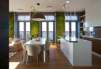 Потолок из натяжной плёнки со встроенным и навесным освещением