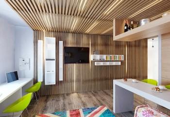 Здесь рейками отделан не только потолок, но и акцентная стена