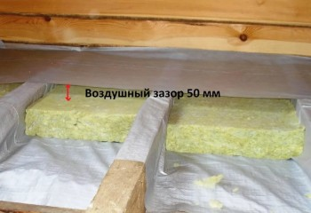 Закладка плитного утеплителя в конструкцию поверх пароизоляционной плёнки