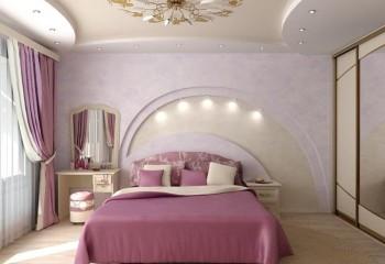 Потолок из гипсокартона для спальни - полукруглые элементы смотрятся элегантно