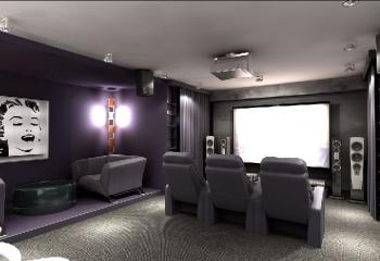 Великолепная акустическая комната с домашним кинотеатром