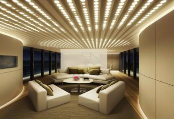 Здесь осветительные приборы спрятаны в коробах – комната буквально светится изнутри