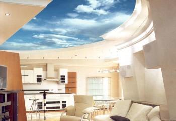 Изображение чистого неба – один из распространенных способов визуального увеличения объема помещения