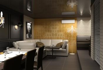 За счёт чёрного потолочного глянца, приватная комната ресторана приобретает некую интимность