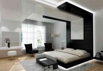 Спальня, декорированная в стилистике хай-тек