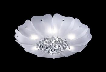 Накладной светильник из металла и стекла с хрустальным декором