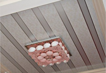 Симпатичные пластиковые модули отлично смотрятся на потолке кухни