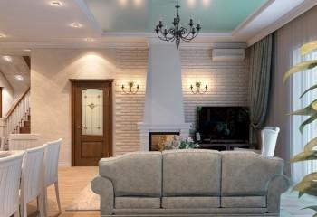 Полотно нежно-зелёного с перламутровым блеском оттенка, является главным украшение данного интерьера