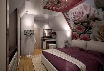 Современный дизайн спальни со скошенным потолком
