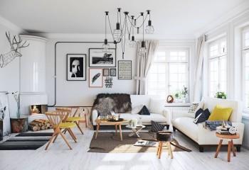 Основой скандинавского интерьера является простой белый потолок со множеством контрастных по цвету светильников