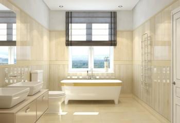 Ванная в пастельных тонах с натяжным матовым потолком