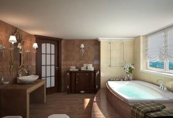 Классический белый потолок в ванной