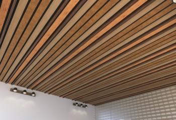 Потолки для ванной комнаты реечные: комбинация реек и панелей