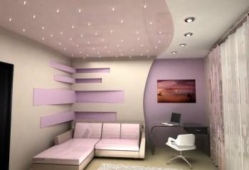 Оригинальный дизайн потолков с точечными светильниками