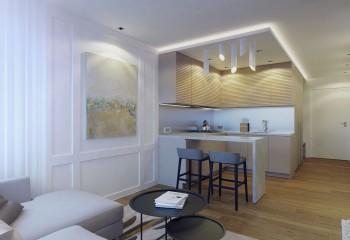 Разноуровневые потолки в сочетании со скрытой подсветкой и кухонной мебелью