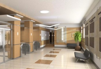 Гипсокартонный потолок, покрытый тёплой штукатуркой, в коридоре учреждения
