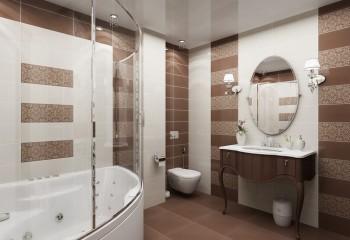 Ванная в бежево-коричневых тонах с глянцевым потолком