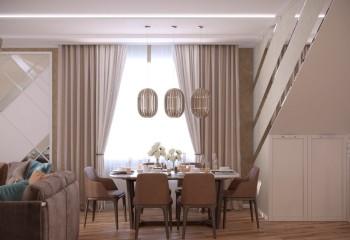 Оформление окна шторами в столовой-гостиной
