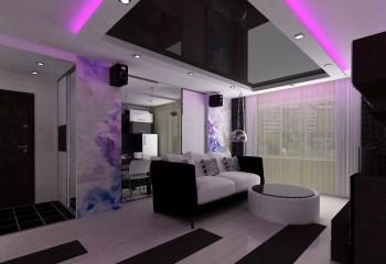 Фиолетовая подсветка объёмной конструкции гармонизирует пространство и оживляет строгий чёрно-серый интерьер