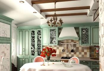 Функциональность подвесного потолка всегда кстати: кухня в стиле прованс