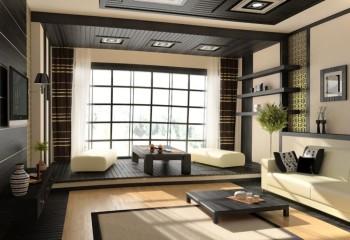 Более современный вариант с встроенными в потолок светильниками