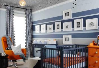Бумажные обои с выразительным рисунком в детской спальне