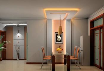 Освещением на потолке можно разделять помещения не зоны
