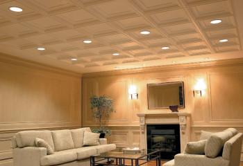 Объемный потолок в классическом интерьере