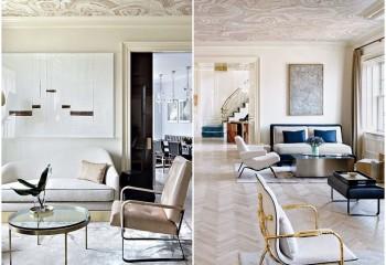 Оттенок материала на потолке дублирует тональность напольного покрытия, создавая теплый фон для «холодных» акцентов