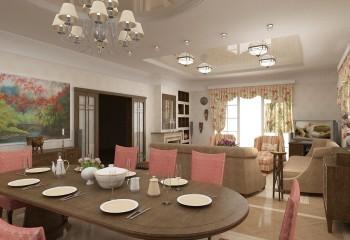 Зонирование гостиной-столовой по потолку