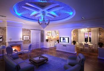 Контрасты и освещение, как главный декор потолка