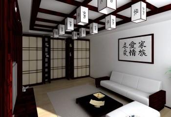 Темная раскладка на светлом потолке – ещё один отличительный признак японского стиля