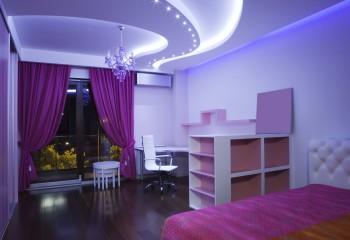 Гипсокартонный потолок в комнате девочки-подростка