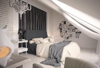 Окно с легкой драпировкой – главное украшение потолка в этой спальне
