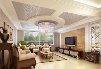 Оригинальный дизайн потолка из гипсокартона в зале