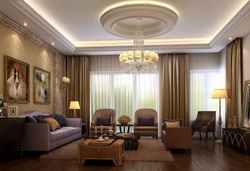Подвесной потолок в классическом интерьере с вогнутой круглой розеткой