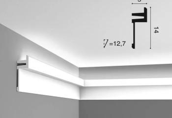 Полиуретановый потолочный плинтус для светодиодной ленты со ступенчатым сечением