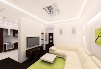 И такие потолки могут оснащаться встроенной подсветкой – она прячется за потолочными багетами