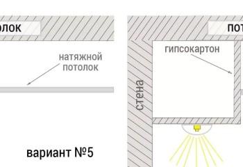 Расположение точечных светильников снаружи и внутри подвесного потолка