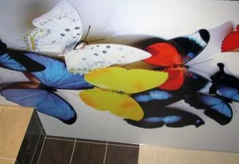 Потолок в ванной с 3D-рисунком