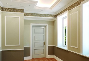В этом интерьере полиуретановой лепниной отделан не только потолок, но и стены