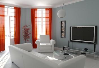 Белый потолок и белая мебель прекрасно оттеняют серые стены