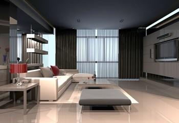 Гостиная, оформленная в высокотехнологичном стиле