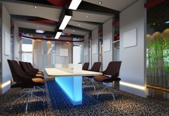 Потолок сложной конфигурации с комбинированием полотен трёх цветов