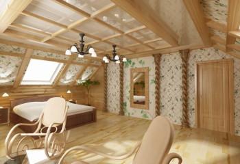 Оформление потолка в деревянном доме комбинированной кессонной системой