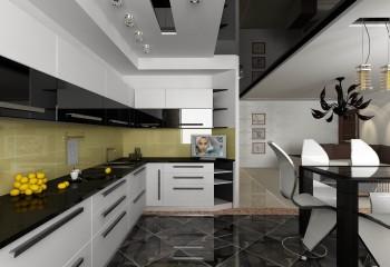 Дизайн проект кухни с подвесным потолком